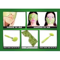 Terapie cu JAD Pachet 4 piese pentru Tratament Facial: Masca 207 pietre + 2 role mari speciale din JAD + Sfera JAD