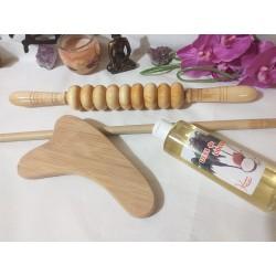 Pachet MADERO: 4 instrumente Lemn si BAMBUS pentru orice tip de Masaj / MaderoTerapie