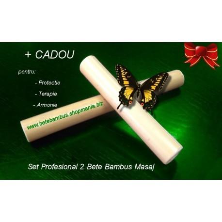 Set Profesional 2 Bete Bambus finisate pentru Masaj, 20 cm si 30 cm (diametru 2 cm - 4 cm) + CADOU la ALEGERE