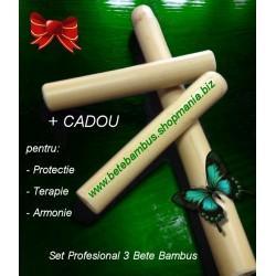 Set Profesional 3 Bete Bambus pentru Masaj 60 + 20 + 20 cm - diametru 2 cm - 4 cm + CADOU la ALEGERE