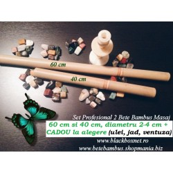Set Profesional Bete de Bambus pentru Masaj (60 cm + 40 cm) + CADOU la ALEGERE