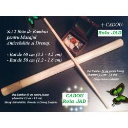 Set Profesional 2 Bete Bambus (60 cm + 50 cm) pentru Masajul Anticelulitic + CADOU Rola din JAD pentru Masaj