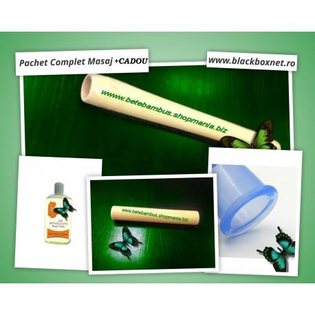 Pachet Masaj 5 piese : Bat Bambus 40 cm si 20 cm + Ulei Anticelulitic + Ventuza Silicon Masaj + Rola  JAD Masaj