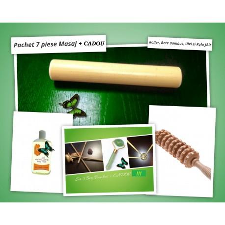 Pachet 7 piese Masaj Anticelulitic: Roller Zimtat din lemn + 4 Bete Bambus + Ulei Cocktail Anticelulitic + Rola JAD