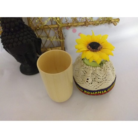 Ventuza / Cupa (6 x 10 cm) din Lemn pentru Masaj (Accesoriu traditional si natural MADEROTERAPIE) + Cristal CADOU