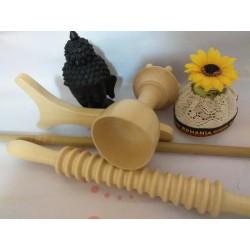 Kit / Set 4 Piese pentru Masaj si Maderoterapie Lemn (Roller + Bat Bambus + Paleta + Cupa-Ciuperca) + CADOU