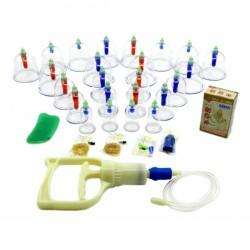 Set / Kit complet 24 ventuze terapeutice magnetice din plastic dur + Magneti + Gua Sha + Ulei + Cristal
