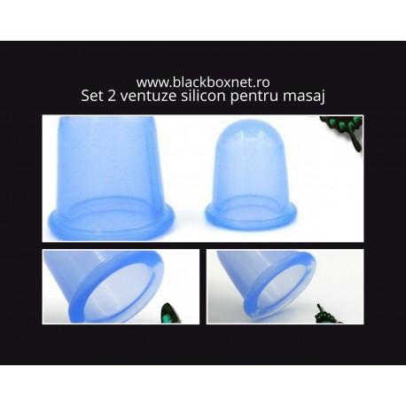 Set 2 ventuze (5.5 cm si 7 cm) din silicon pentru masaj anticelulitic si terapeutic + Cristal CADOU