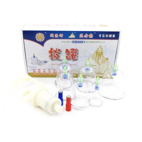 Set / Kit 6 ventuze terapeutice magnetice din plastic dur + Pistol aspiratie + CADOU