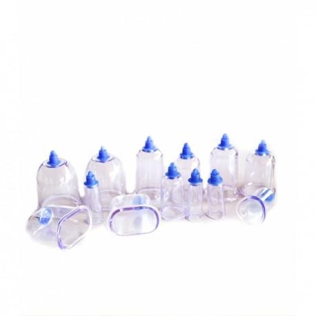 Set / Kit 13 ventuze terapeutice magnetice din plastic dur cu forme speciale + Pompa + CADOU