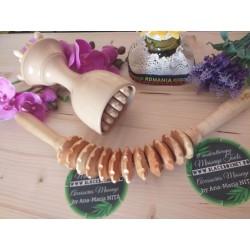 Kit / Set 2 Piese Masaj Maderoterapie Lemn (Roller Estriado Curbat + Cupa-Ciuperca-Rola 3in1) + CADOU