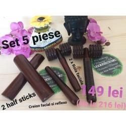 Set 5 Piese Masaj Maderoterapie ( 2 x Rola Faciala + 2 x Half Sticks + 1 x Creion Facial si Reflexo) + CADOU