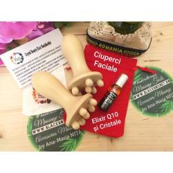 SET MADEROTERAPIE FACIALĂ (2 mini ciuperci CHAMPINONES Masaj Facial + Ser Crystal Beauty ELIXIR Q10) + CADOU