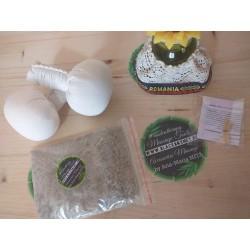 Set 2 Saculeti masaj (Herbal) cu fulgi de COCOS + CADOU Lavanda + Sare Praid cu plante medicinale + Palo Santo
