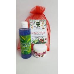 Exfoliant Facial cu Ceai Verde 250 ml + Crema Antirid cu Catina 100 ml + Saculet + CADOU