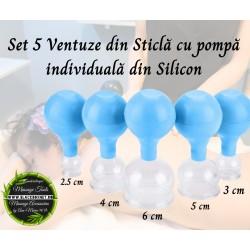 Set 5 ventuze din sticla si pompita silicon (Terapie si masaj facial) + CADOU