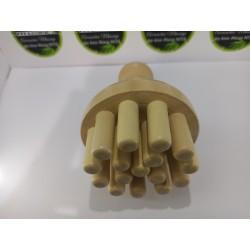 Instrument ciuperca (CHAMPINON) XL cu 15 pini din Lemn pentru Maderoterapie / Anticelulitic / Drenaj / Relaxare + Cadou