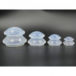 Set 4 ventuze silicon antialergic si antibacterian (forma ciuperca) pentru Masaj si Terapie + Cristal CADOU