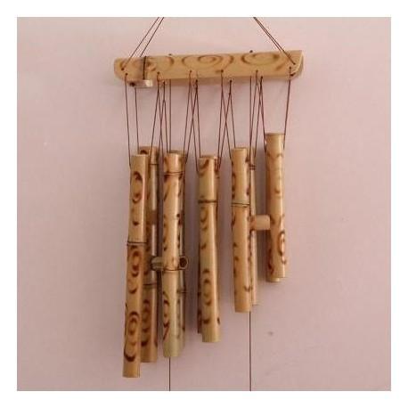 Clopotei de vant (60 cm) din Bambus Natural cu 10 tuburi / 15 elemente - Meloterapie si Protectie + Cristal CADOU