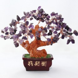 Copacel / Pom / Bonsai Mare (20 cm) cu 144 Pietre / Cristale Ametist pentru Protectie, Terapie si Decor + Cutie + Cristal Cadou