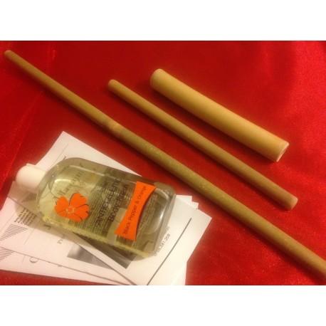 Set Profesional 3 Bete de Bambus (50 cm + 30 cm + 20 cm) pentru Masajul Anticelulitic + Ulei Natural Anticelulitic 300 ml
