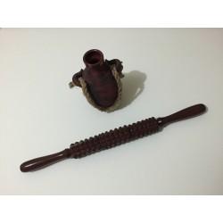 Roller zimtat din LEMN (45 cm x 4 cm - diametru) pentru Masaj Anticelulitic / MaderoTerapie