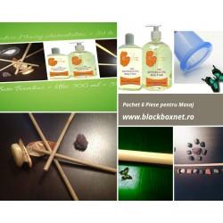 Oferta 6 piese Masaj: 4 Bete Bambus (50 + 50 + 25 + 20 cm) + Ulei 300 ml + Ventuza Silicon