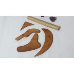 Set 5 Accesorii Modelatoare Lemn Bambus (4 Palete + Bat special 20-30 cm) MaderoTerapie / Masajul Anticelulitic / Slimming