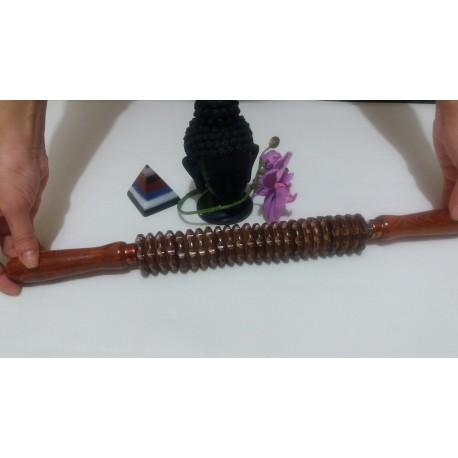 Roller Zimtat / Striat LEMN Natur (45 cm x 4 cm)  Masaj Anticelulitic / MaderoTerapie + Cristal