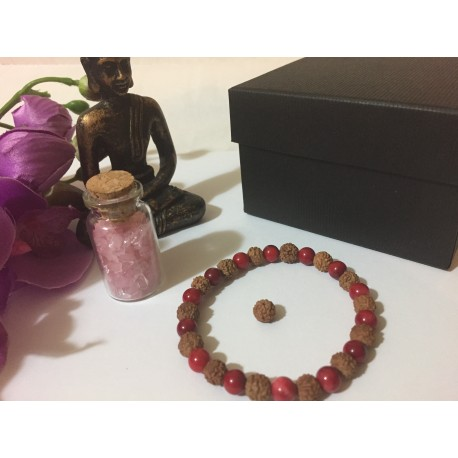 Bratara Pasiunii cu Rudraksha si Coral Rosu (Protectie, Abundenta si Succes) + Cadou Sticluta Cristale